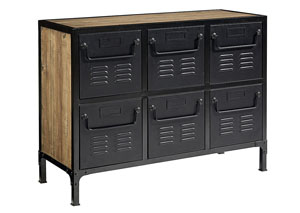 Recess 6-Drawer Storage Bin, Salvage/Carbon/Zinc Finish