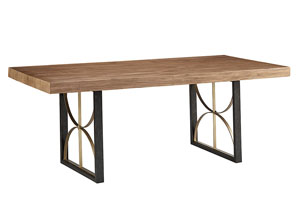 Proximity 6' Carbon/Bench Dining Table, w/Brushed Brass Accents