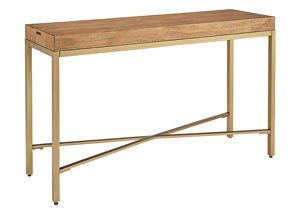 Linear Brushed Brass & Wood Console Table, Bench Finish