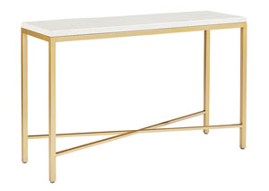 Luxe Brushed Brass Console Table w/Marble Top