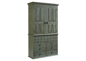 Card Catalog Armoire, Patina Finish