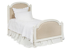 Sisters Upholstered Twin Bed, Jo's White/Tan Finish