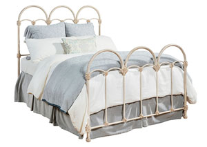 Rosette Iron King Bed, Antique White Finish