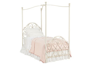 Garden Gate Canopy Twin Bed, Antique White Finish