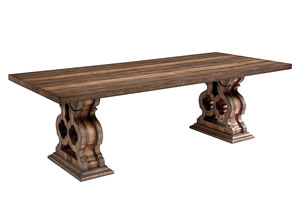 Double Pedestal Dining Table, Shop Floor Finish (Top & Base)
