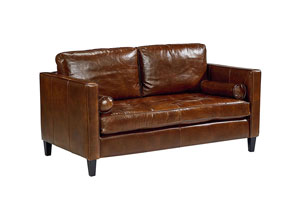 Dapper Coffee Leather Sofa