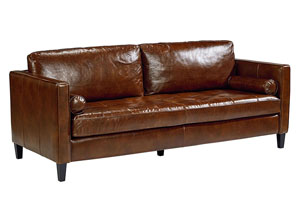 Dapper Coffee Leather Loveseat