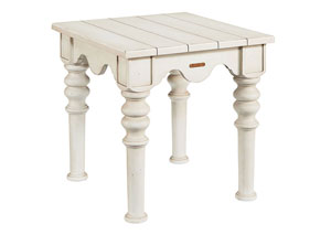 Scallop Antique White Side Table