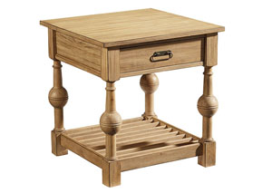 Louver End Table, Wheat Finish