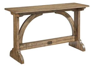 Barrel Vault Console Table, Salvage Finish
