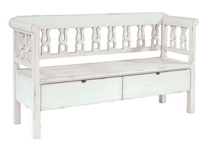 Hall Bench w/Storage, White Finish