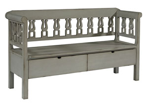 Hall Bench w/Storage, Dove Gray Finish