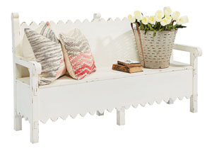 Scallop Bench w/Storage. White Finish