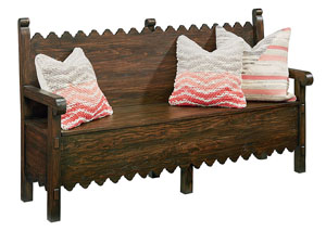 Scallop Bench w/Storage, Barndoor Finish
