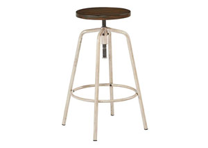 Factory Stool w/Milk Crate Seat & Antique White Legs