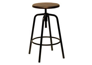 Factory Stool w/Milk Crate Seat & Blackened Bronze Legs
