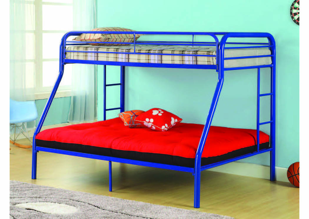 Picture of: Twin Full Blue Metal Bunkbed Furniture Comfort Zone