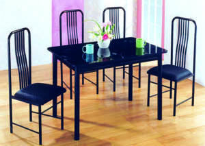 Image for Topaz 5-Pc Black Marble Top Dining Set