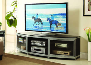 "Image for Odeon Metallic Silver/Glossy Black 72""W Entertainment Center"