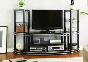 Image for Tribeca Glossy Black/Metallic Silver 3-Pc Entertainment Center