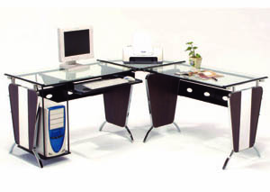Le Mans Silver/Chrome & Java L-Shaped Computer Desk Set