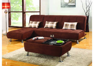 Image for Latitude Chocolate Brown Sofa Bed w/Chrome Legs
