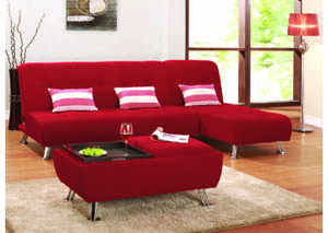 Image for Latitude Red 2-Pc Sofa Bed w/Chrome Legs