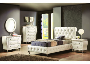 Juliet 3Pc White Leatherette Twin Sleigh Bedroom Set (82440/64/53)