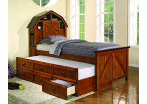 Image for Barnyard Antique Pine & Espresso Twin Captain's Bed w/Storage & Trundle