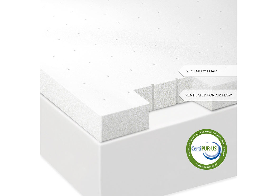Isolus 2 Inch Ventilated Full Memory Foam Mattress Topper,ABF Malouf