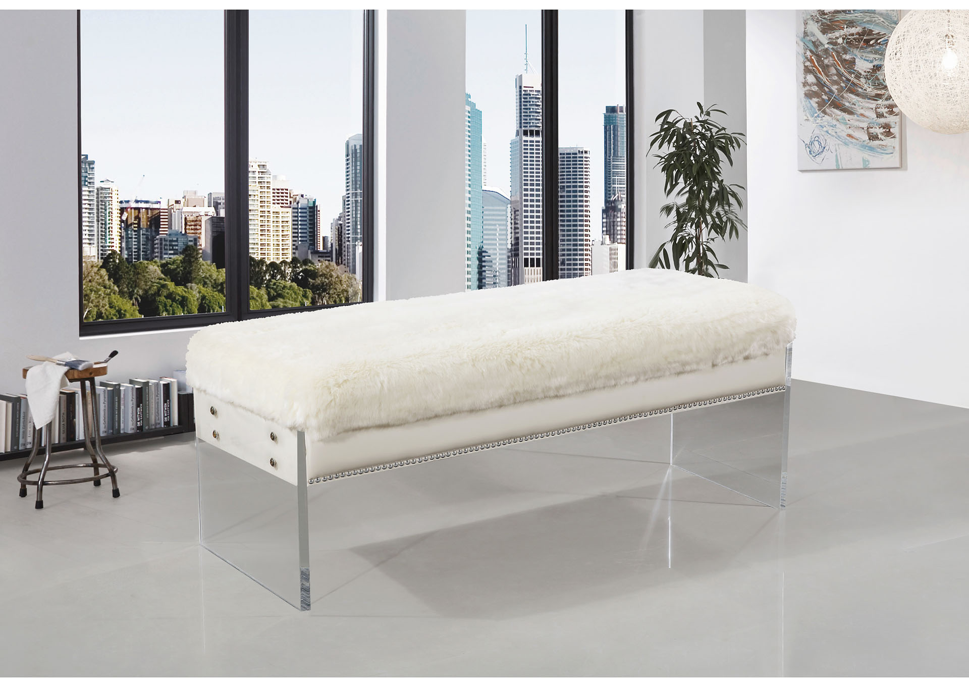 Super Luxury Home Furniture Jenny White Faux Fur Bench Uwap Interior Chair Design Uwaporg