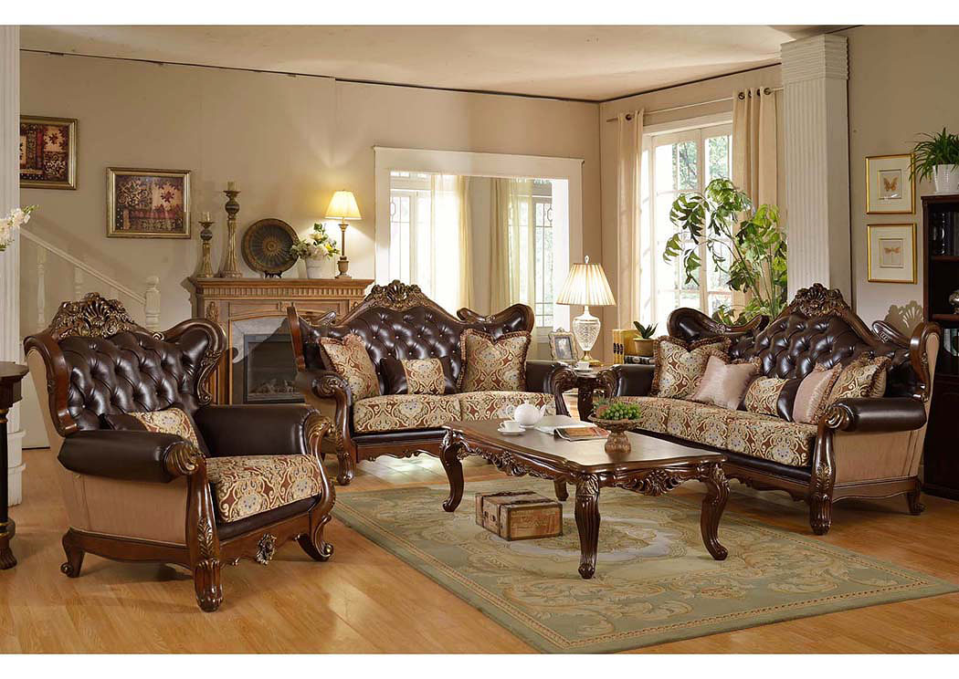 Traditional Pattern Sofa & Loveseat w/Rich Cherry Finish,Meridian Furniture