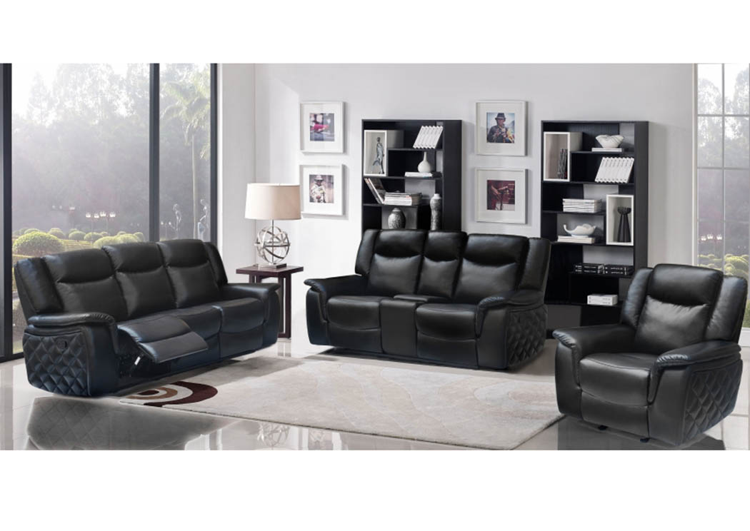 Carly Black Leather Sofa U0026 Loveseat,Meridian Furniture