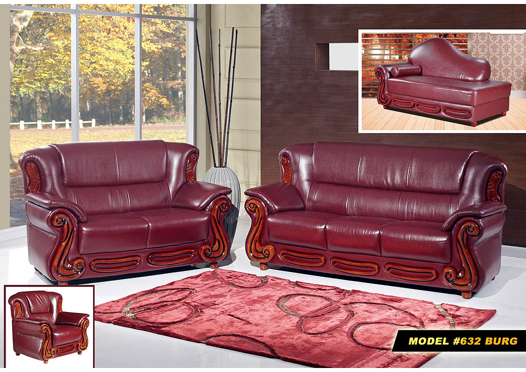 Burgundy Leather Chair,Meridian Furniture