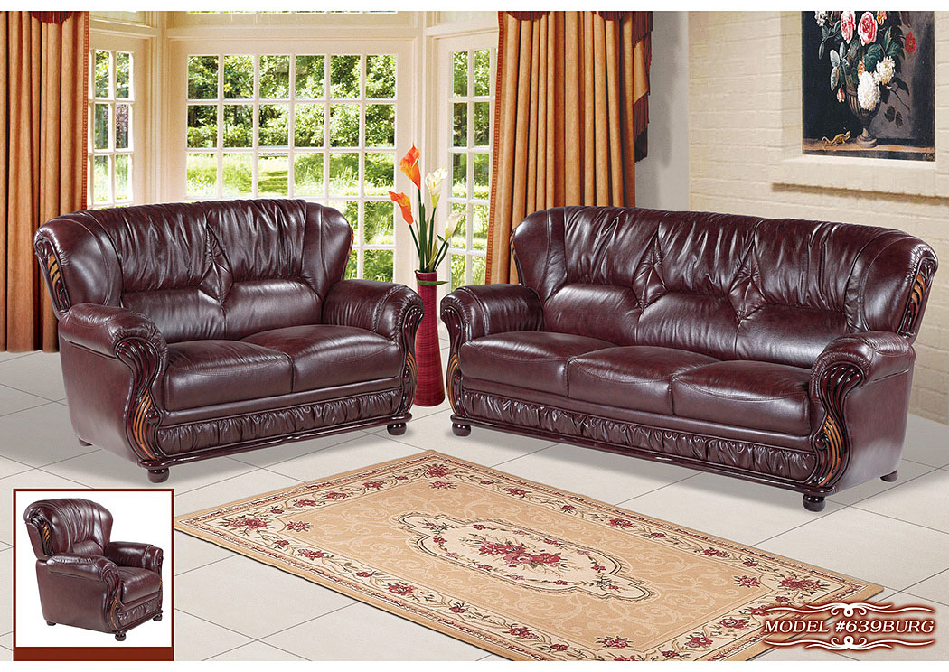 Superieur Burgundy Leather Chair,Meridian Furniture