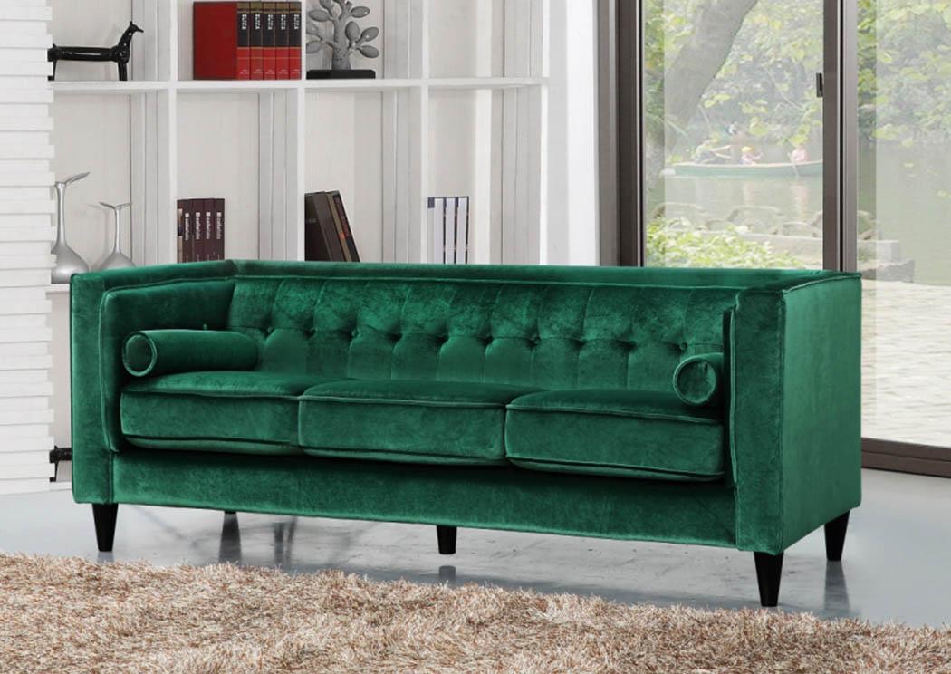 Taylor Green Velvet Sofa,Meridian Furniture