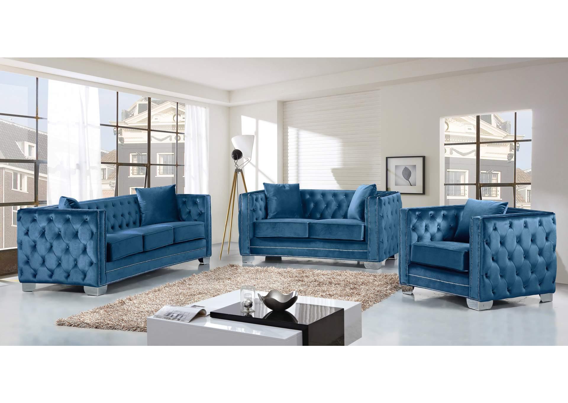 Best Buy Furniture and Mattress Reese Light Blue Velvet Sofa ...
