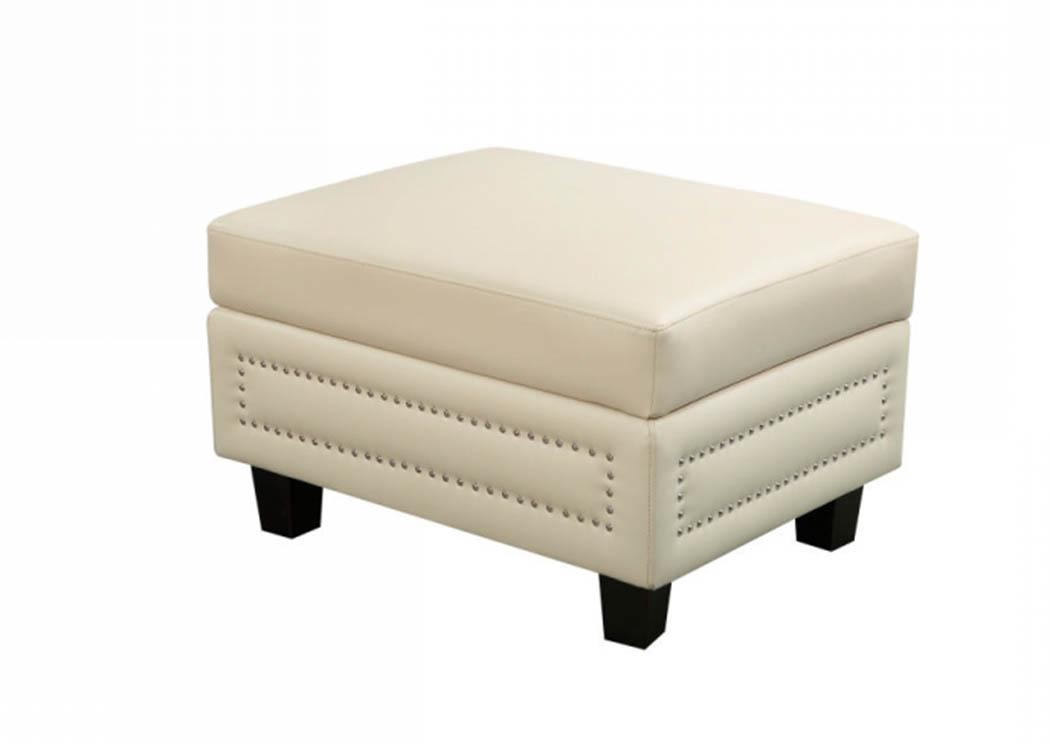 Ferrara Beige Leather Storage Ottoman,Meridian Furniture