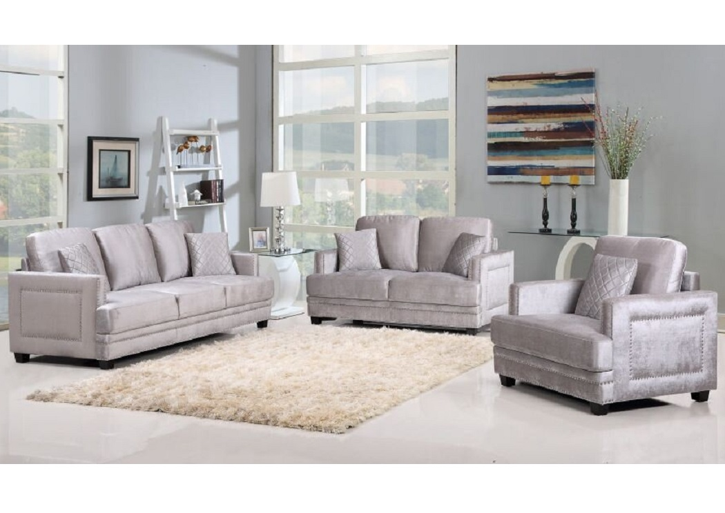 Gray Velvet Sofa And Loveseat - Furniture & Interior