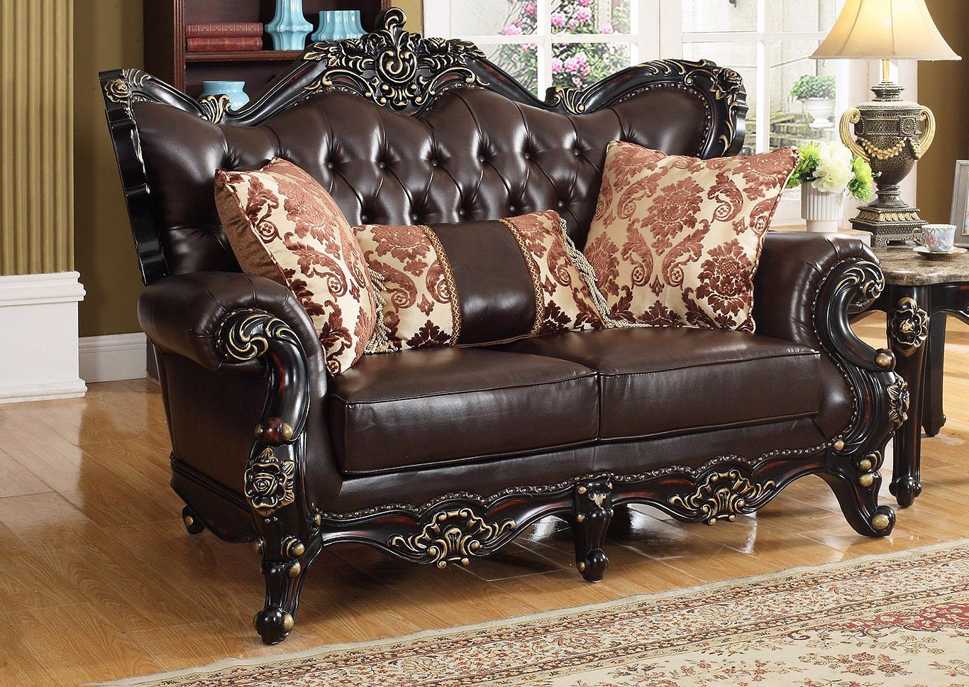 Town of Bargains Furniture Dark Brown Leather Loveseat w ...