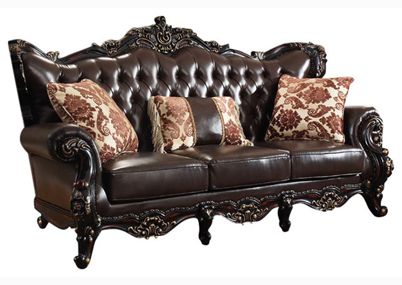 Harlem Furniture Dark Brown Leather Sofa w/Rich Cherry Finish