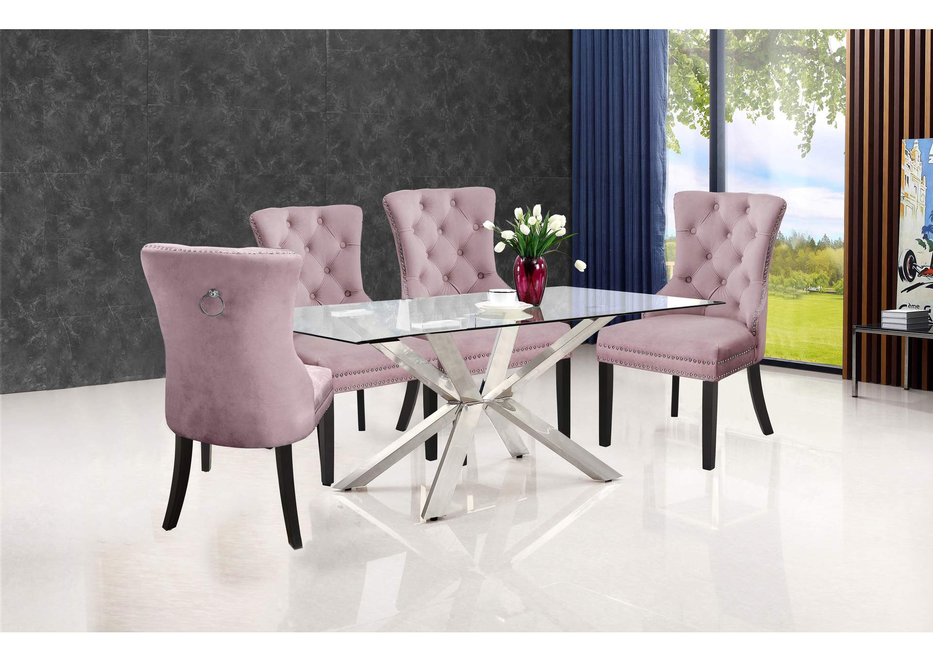 Juno Chrome Dining Table w/4 Pink Chair,Meridian Furniture