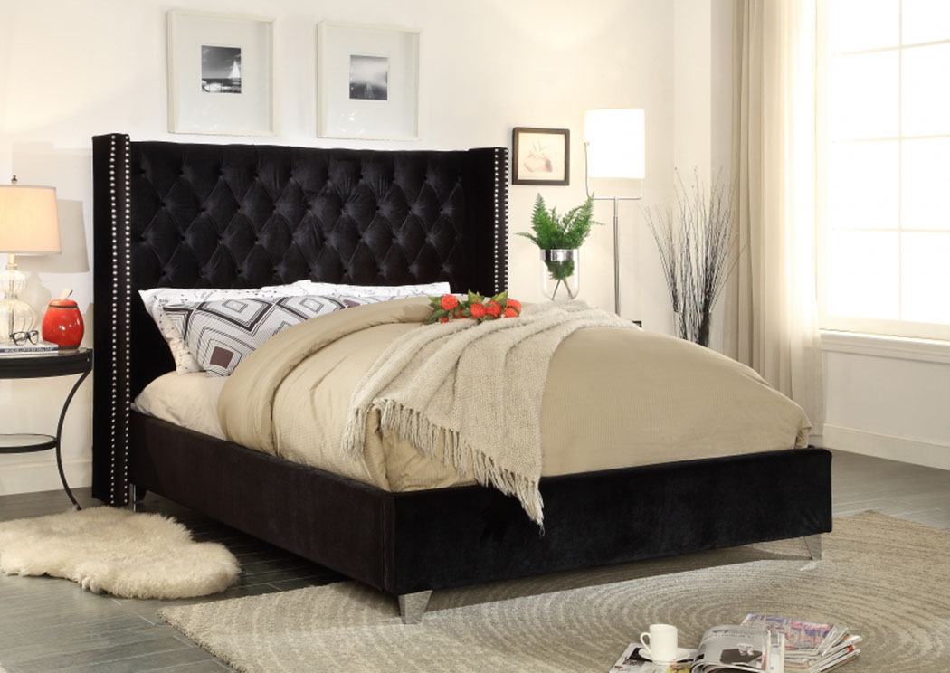 Furniture Ville Bronx Ny Aiden Black Velvet Full Bed