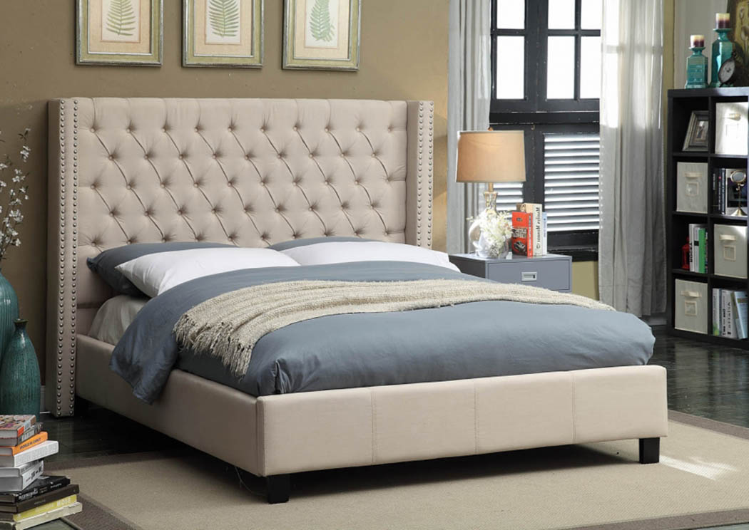 Ashton Beige Linen Queen Bed,Meridian Furniture