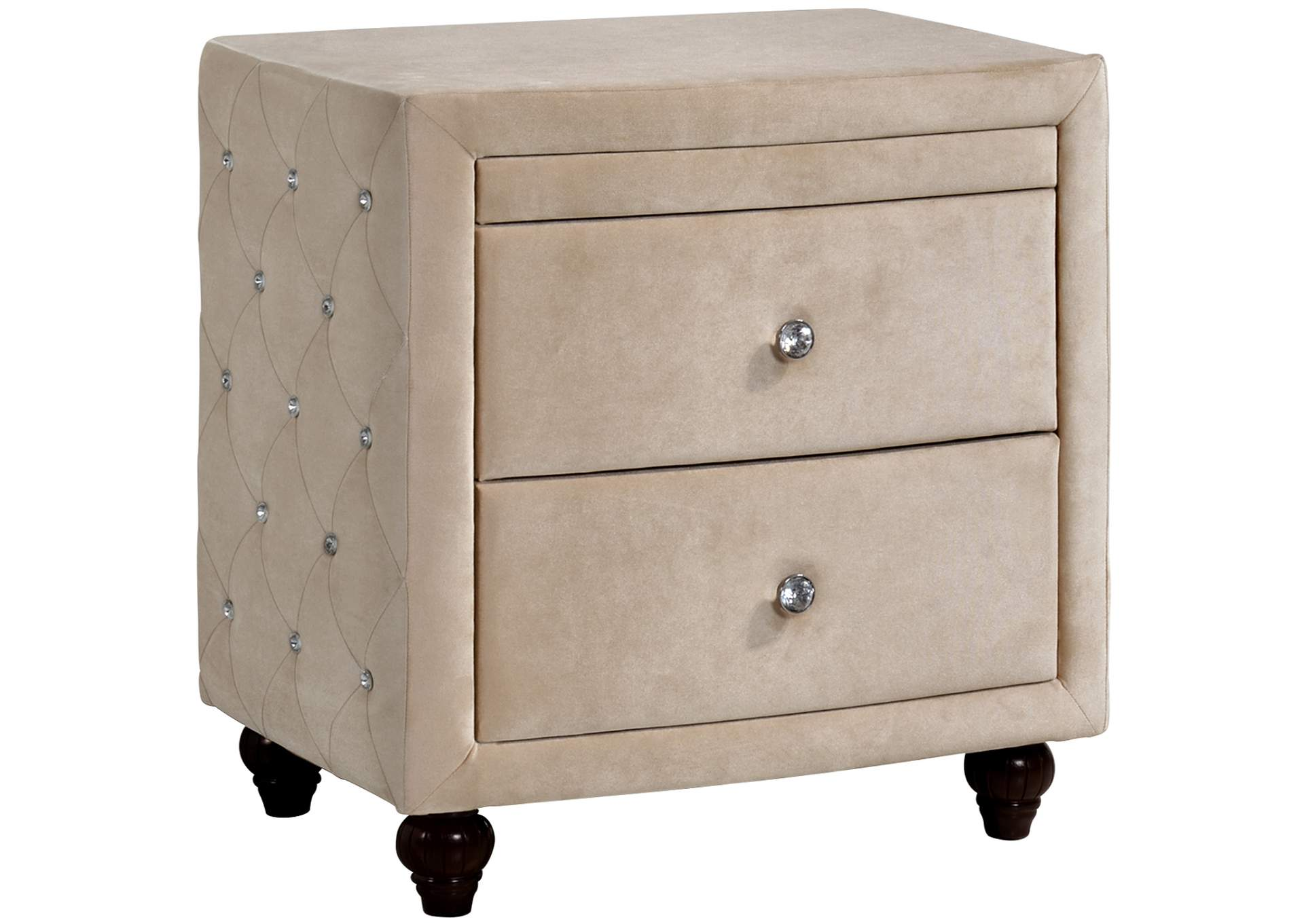 Diamond Cream Velvet Nightstand,Meridian Furniture