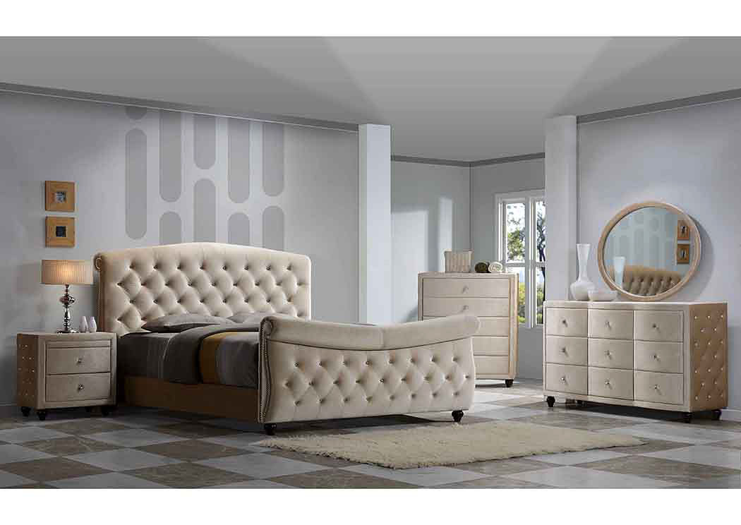 Diamond Golden Beige Velvet Queen Sleigh Bed W/Dresser U0026 Mirror,Meridian  Furniture