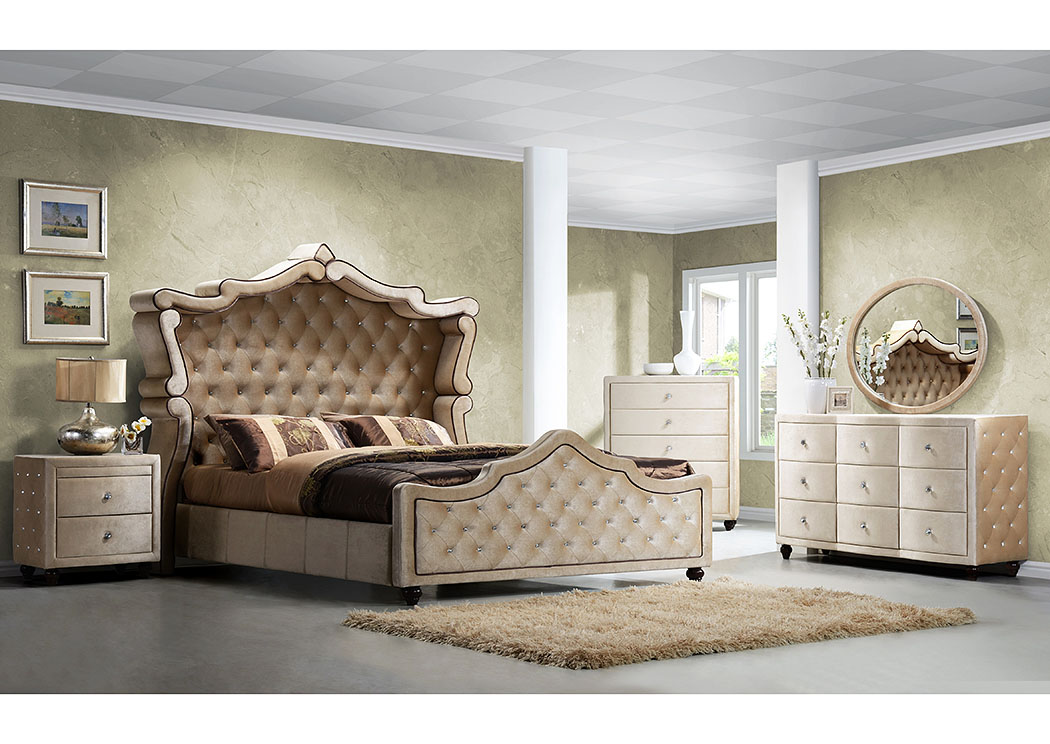 Diamond Golden Beige Velvet Queen Canopy Bed,Meridian Furniture