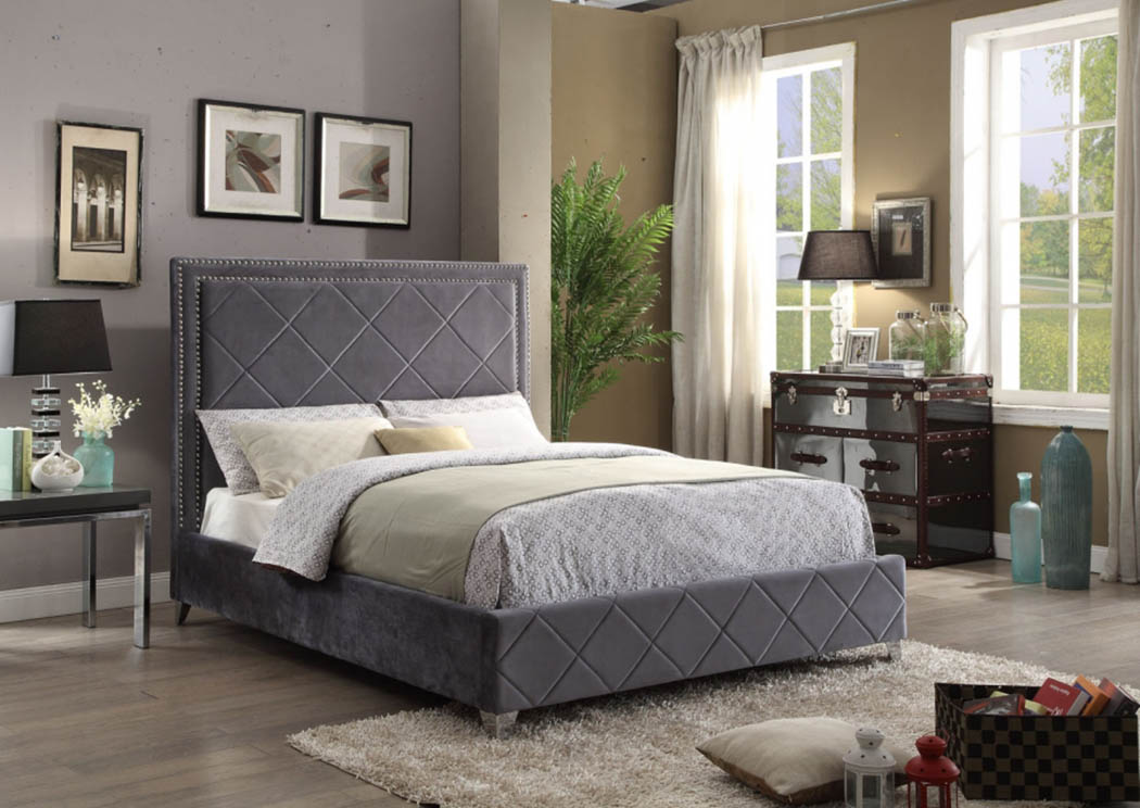 Hampton Grey Velvet Queen Bed,Meridian Furniture