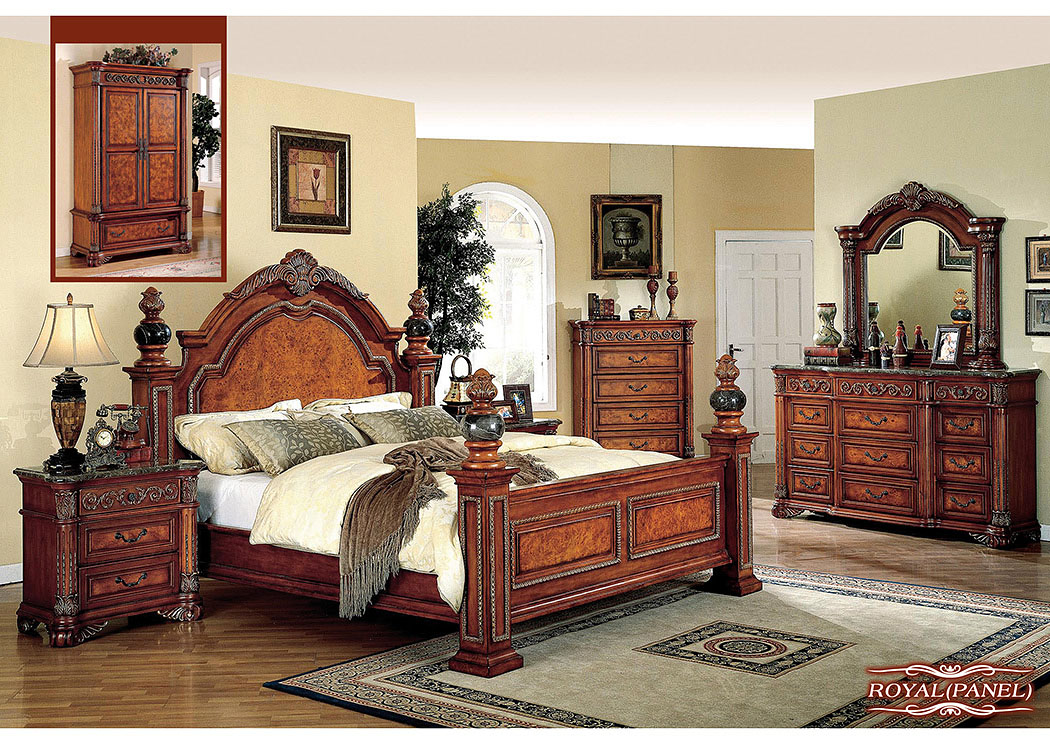 Royal Queen Poster Bed W/Dresser, Mirror, Drawer Chest U0026 Nightstand,Meridian