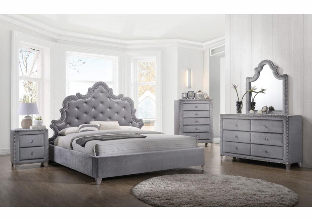 Sophie Grey Velvet Queen Bed W/Dresser, Mirror, Chest U0026 Nightstand,Meridian
